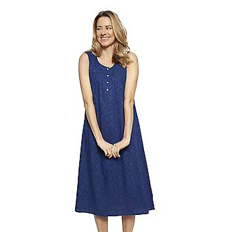 Cyberjammies 1323 Women's Nora Rose Thea Navy Blue Cotton Long Nightdress
