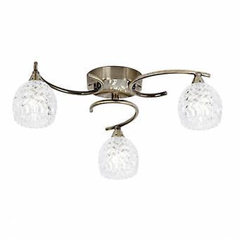 3 Light Semi Flush Multi Arm Ceiling Light Antique Brass, Glass