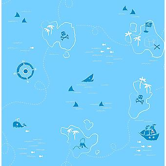 Shark Pirate Treasure Map Wallpaper Boys Blue White Compass Fine Décor