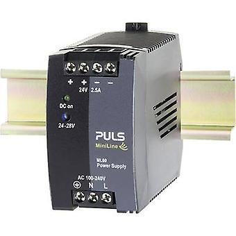 PULS MiniLine ML60.242 Rail mounted PSU (DIN) 24 V DC 2.5 A 60 W 1 x
