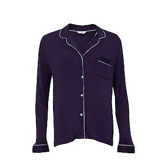 Cyberjammies 4231 Women's Sophie Ink Blue Modal Revere Collar Pyjama Top