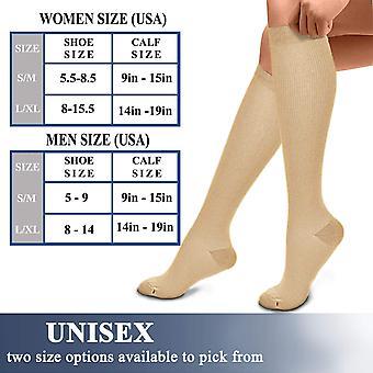 Compressie sokken (3 paar), 15-20 mmHg is beste atletische &, 04 naakt, maat 5,5