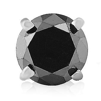גברים 1/2ct שחור יהלום יחיד עגיל פתוח 10K זהב לבן