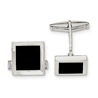925 Sterling Silver Polished Simulated Onyx Cuff Links Jewelry Gifts for Men