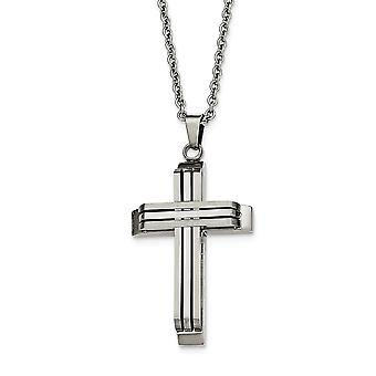 Stainless Steel Engravable Fancy Lobster Closure Brushed and Polished Religious Faith Cross Necklace 22 Inch Jewelry Gif