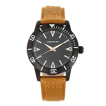 Morphic M85 Series Canvas-Overlaid Leather-Band Watch - Black/Beige
