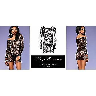 Leg Avenue Lingerie [ UK 8 - 14 ] Black Web Net Mesh Long Sleeved 'One Size' Mindress