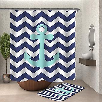 Blue White Chevron Anchor Shower Curtain