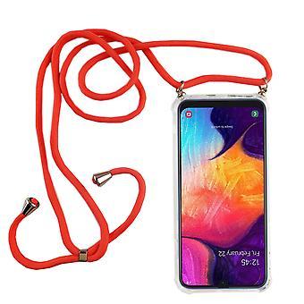 Telefonní řetězec pro Samsung Galaxy A50-smartphone náhrdelník s pásem-přívodní šňůra s Pouzdrou pro pověsit na růžovou