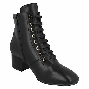 Spot On Womens / Ladies PU Mid Lace Up Ankle Boots Spot on Womens / Ladies PU Mid Lace Up Ankle Boots