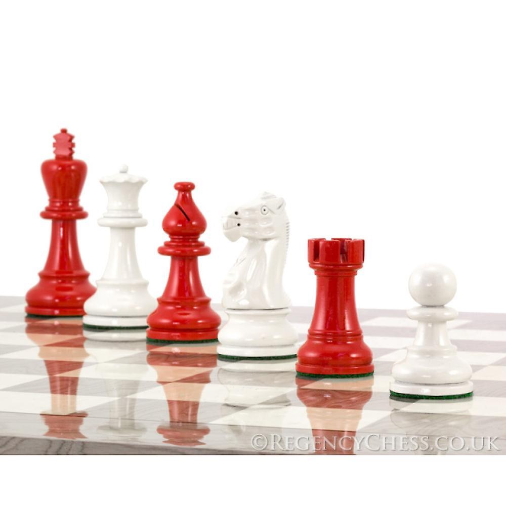 Atlantic Scarlet and Grey Burl Chess Set