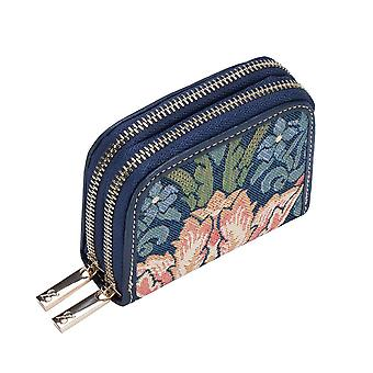 William morris - strawberry thief blue rfid money purse by signare tapestry / dzip-stbl