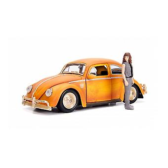 VW Beetle Diecast Model Car with Charlie Figure from Transformers Bumblebee