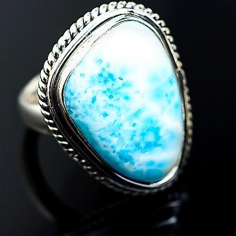 Larimar Rings 5.25 (925 Sterling Silver)  - Handmade Boho Vintage Jewelry RING985142