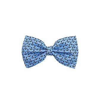 Dobell Mens Blue with Black Anchor Print Bow Tie Pre-Tied