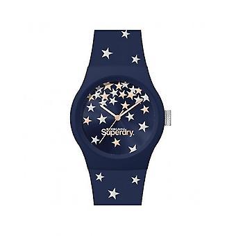 Superdry Watch SYL275U - Urban Star Blue Plastic Case Blue Dial Blue Bracelet Blue Pattern
