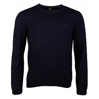 Hugo Boss Baram Cotton Slim Fit V-cou Navy Knitwear