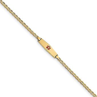 6mm 14k Engravable Medical Soft Diamond Shape Red Enamel ID W Semi solid Nautical Ship Mariner Anchor Bracelet - Length: