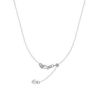 925 Sterling Silber Rhodium vergoldet 0,8 mm verstellbare Box Kette Halskette mit Perle 22 Zoll Schmuck Geschenke für Frauen