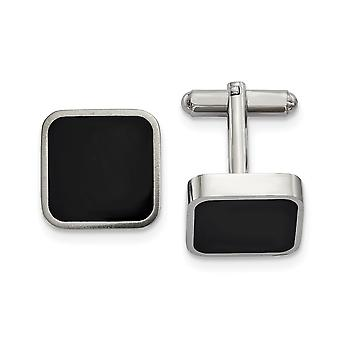 17.35mm Stainless Steel Polished Black Enameled Square Cuff Links Jewelry Gifts for Men