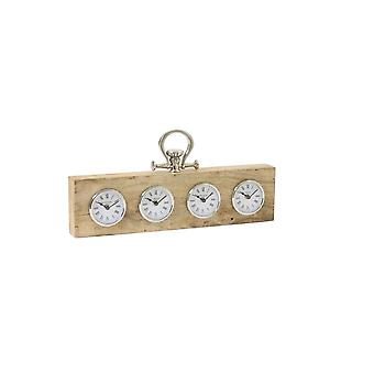 Light & Living Clock 49x5x13cm Brixton Wood Nickel