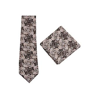 JSS Dark Brown Paisley Tie And Pocket Square Set