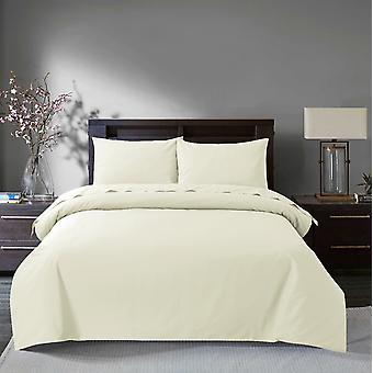 Sleepdown 200 Thread Count Egyptian Cotton Duvet Cover Set Bedding - King - Ivory