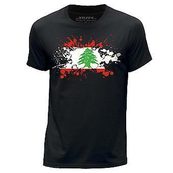 STUFF4 Herren Rundhals T-Shirt/Libanon/libanesische Flagge Splat/schwarz