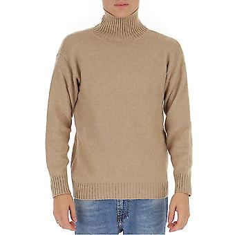 Laneus Mgu557cc3cammello Men's Beige Wool Sweater