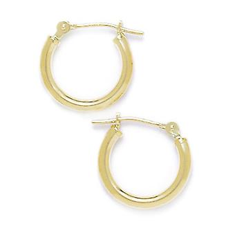 14k Yellow Gold 14mm Round Hoop Earrings Jewelry Gifts for Women
