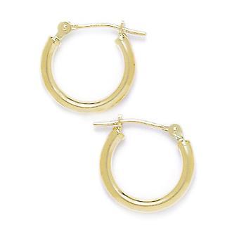 14k Geel goud 14mm Ronde Hoop Oorbellen Sieraden Geschenken voor vrouwen