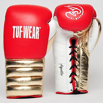 Tuf Wear Apollo Metallic Lace Leather Sparring Glove Red / White / Rose Gold