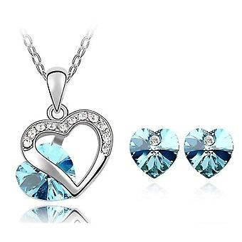 TOC Silvertone Blue Crystal Heart Stud Earrings & Pendant Necklace Gift Set