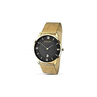 Sekonda Mens Black Dial Gold Mesh Bracelet Horloge 1064
