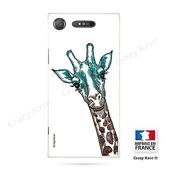 Rumpf für Sony Xperia Xz1 Flexible Giraffe Kopf Muster auf weißem Hintergrund