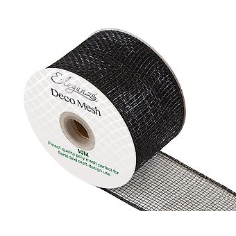 Black 6cm x 10m Deco Mesh Roll for Wreath Making, Floristry & Crafts
