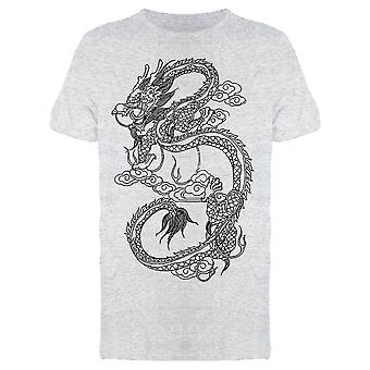Flying Chinese Dragon Drawing  Tee Men's -Image by Shutterstock