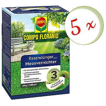 Sparset: 5 × كومبو Floranid® الأسمدة في الحديقة مع قاتل الطحالب، 6 كجم