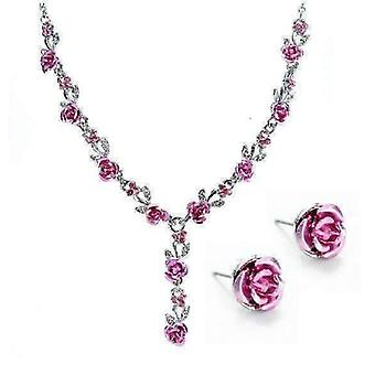 Reflections of rose necklace and stud earrings set - available in four colors