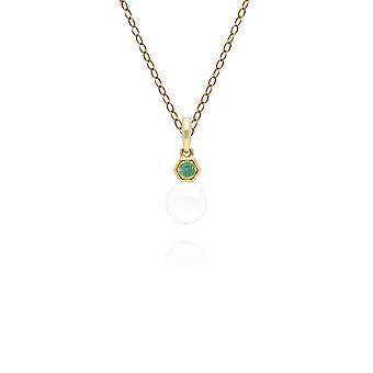Modern Pearl & Emerald Pendant Necklace in 9ct Yellow Gold 135P1965019