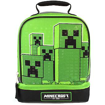 Minecraft Kids Lunchbox Creeper Zip Compartment Green Lunch bag