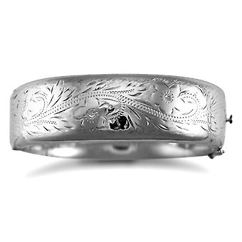 Jewelco London Sterling Silver Hinged Engraved Victorian 19mm Bangle Bracelet