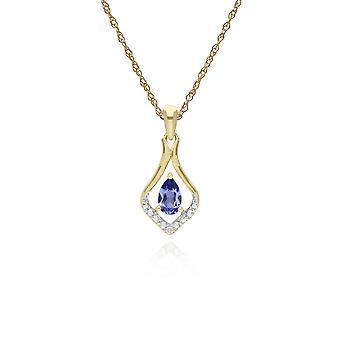 Klassieke Peer Tanzanite & Three Diamond Leaf Halo Hanger Ketting in 9ct Yellow Gold 135P1915099