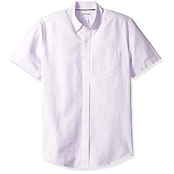 Essentials Men's Regular-Fit Short-Sleeve Pocket Oxford Shirt, Lavende...