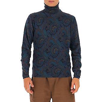 Etro 1m96497130200 Men's Blue Wool Sweater