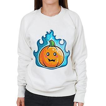 Blue Flaming Cute Pumpkin Kawaii Women's Sweatshirt