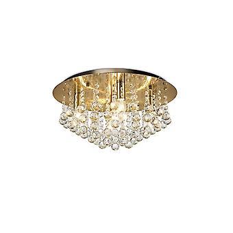 Inspiriert Deco - Acton - Flush Decke 5 Licht E14, 460mm Runde, antike Messing, Kugel Kristall