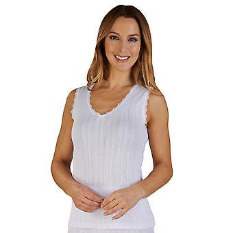 Slenderella UW401 Women's White Brushed Cotton Thermal Sleeveless Top