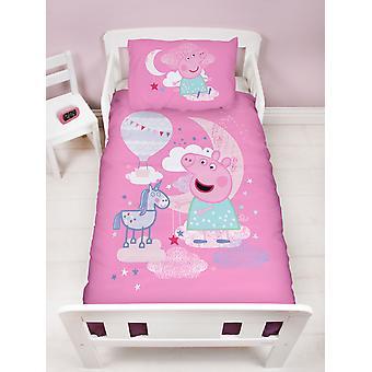 Peppa Pig Stardust 4 i 1 Junior Bedding Bundle Set (Dyne, Pude og