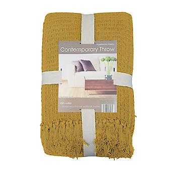 Yorkshire Linen Waffle Throw, Ocre 178 x 254cm